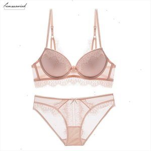 New Top Push Up Bra Panties Sets Lace Underwire Lingerie 3 4 Cup Brassiere Green Deep V Sexy Underwear Set Women Bras