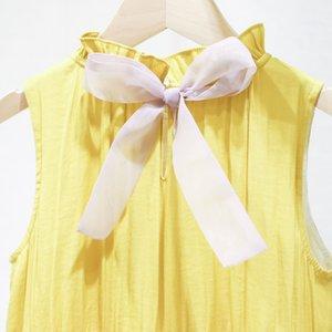 Sumcico 2020SS Son Kızlar Gökkuşağı Giysi Bebek İzlanda ipek elbise Kolsuz Plaj Sundress Çocuklar Yaz Burgu Elbise Yaş 2-15Y