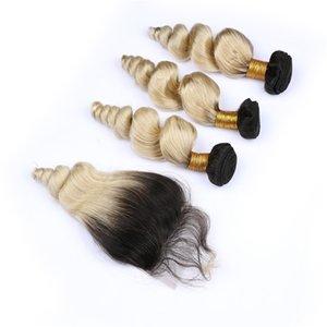 말레이시아 버진 인간의 머리카락 금발 옴브 루즈 웨이브 3Bundles 상단 클로저 4pcs와 함께 로트 # 1B / 613 다크 루트 Ombre 4x4 레이스 전면 폐쇄