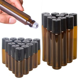 5 ml / 10 ml portátil rodillo de vidrio ámbar de Rollerball botellas de aceite esencial con acero inoxidable de la bola de rodillo