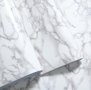 Wholesale-30cm*100cm White Gray Granite Marble Gloss Self Adhesive furniture Decor Film Counter Kitchen Home Decals Wall Stickers