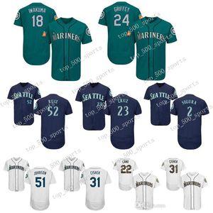 Seattle Herren Trikot 24 Ken Griffey Jr 51 Ichiro Suzuki 22 Robinson Cano 150. Männer Trikots
