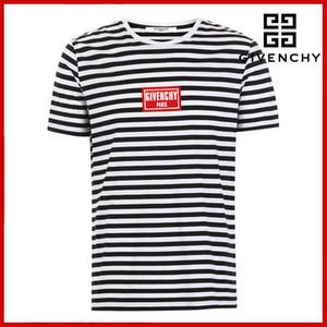 2019 neue Sommer-Designer-T-Shirts Rundhals-T-Shirt mit breiten Streifen Herrenbekleidung Marke Kurzarm-T-Shirt