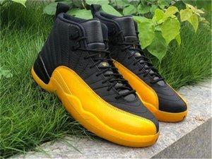 2020 Release Otantik 12 PE Üniversitesi Altın Siyah Erkekler Basketbol Ayakkabı Kutusu ile 130690-070 Altın Siyah 12S Gerçek Karbon Elyaf Spor Ayakkabıları