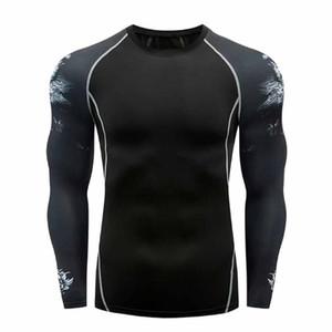 El yoga de manga larga camiseta de los hombres de aptitud de la manera camiseta de la impresión blusa de la tapa redonda del cuello de secado rápido transpirable Camiseta