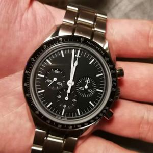Luna Reloj velocidad varón del profesional reloj de alta calidad de 42 mm automático Negro Cara Completa de acero inoxidable de los hombres de OMG-Chaoba