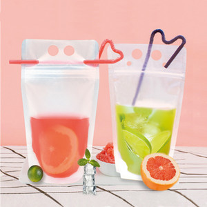 500ml Frosted Clear Drink Bags With Straw And Zipper Seal Pouches Stand-up Plastic Drinking Bag Heat Resistant Leak Proof AC1144