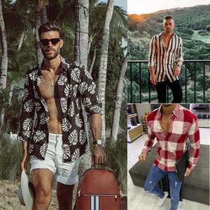 캐주얼 블라우스 남성 드레스 셔츠 꽃 짧은 소매 비치 레저 스타일 블라우스 남성 여름 / Antumn Camisa 꽃 남성 셔츠
