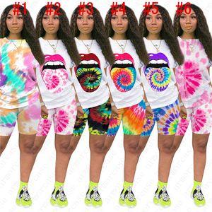 Femmes En deux pièces Tenues Tie Dye Printed sport Pantalons simple Scénographe d'impression Lip à manches courtes T-shirt Shorts Set sport costume HOT D52805
