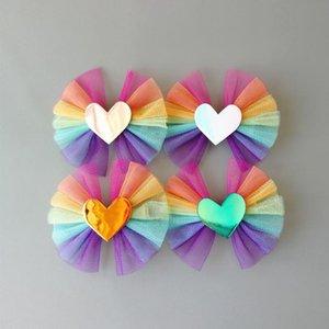 Clipes 20pcs cabelo novo bebê meninas PU-Leather Estrelas coração amante Grampos Crianças Headwear arco-íris Gauze Arcos Acessórios filhos Cabelo