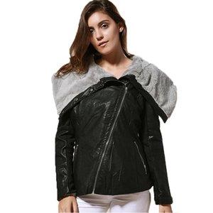 Moda assimétrico Zipper Motocicleta Mulheres Jacket lapela pescoço PU Designer Coats Namorado Estilo Grosso Roupas Femininas