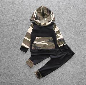 2pcs vêtements pour bébés vêtements de bébé ensembles garçons garçons camouflage camo capuche hauts pantalons longs 2 pcs tenues ensemble vêtements