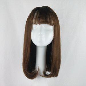 Peluca de moda femenina coreana entera con cabeza de flor de pera interior hebilla hermoso cabello largo