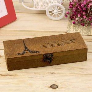 Nueva retro madera de madera titular Torre de la caja de lápiz de escritorio caja de almacenamiento