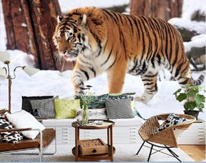 3d wallpaper custom photo mural on the wall Walk across the snow tiger tv background 3d wall murals wallpaper for living room home decor