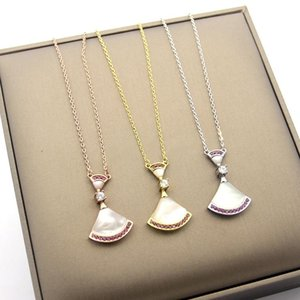 2019 new Valentine's day limited edition B letter white shell Skirt Pink Diamond Gold fan-shaped Necklace