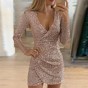 Damen Kleid Sexy Silver Glitter-Kleider für Frauen mit tiefem V-Ausschnitt Pailletten MiniBodycon Kleid Herbst-Winter-langen Hülsen-Partei-Kleid asiatischer Größe