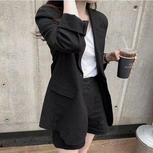 HziriP 2020 Kadınlar Blazer Suit Elegant Ofis Lady Pamuk ve Keten Blazer + Kısa Pantolon Suit 2 Parça Setler Güneş kremi Giyim