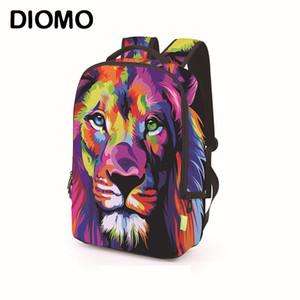 Diomo 3D Roaring Lion, dinossauro, Wolf e Animais Cat Bags Escola Padrão Para Homens Para Adolescente Dinosaur Bagpack Backpack