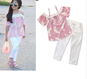 New design baby girls fashion summer outfits INS hot sell floral suspender T-shirt tops+white pant 2pcs set girl boutique clothes