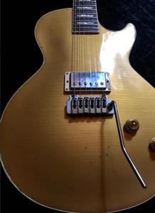 Özel Joe Perry Gold Rush Axcess Yaşlı Relic Antik Altın Elektro Gitar Kopya Wilkinson Tremolo, Tek Humbucker, Oyma Axcess Boyun Eklem