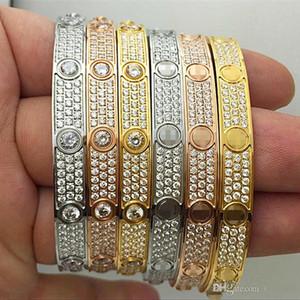 Titanium moda diamante pieno di lusso in acciaio inossidabile braccialetto delle donne Mens progettista Amore ghiacciato fuori Bracciali braccialetti del polsino cacciavite