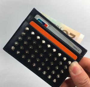 ID Slim Carte Homme bourse de portefeuille Sac classique Rivet en cuir noir carte de crédit Porte-2019 nouvelle banque porte-cartes Porte-monnaie Petit sac de poche