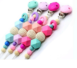 Hot sale Baby Clip Chain Holder Wood Beaded Pacifier Soother Holder Clip Nipple Teether Dummy Strap Chain k672