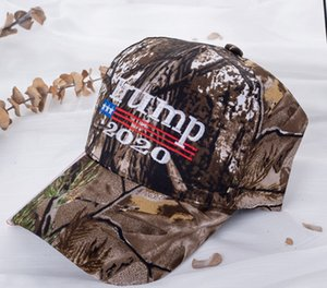 Trump Tarnung Baseball-Cap Trumpf 2020 Hut USA-Flagge gestickt im Freien Sonnenschirm einstellbar Hut Baumwolle snapback Parteibevorzugungs FFA4100-2