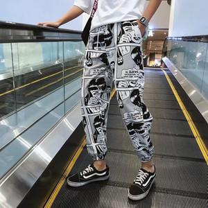 Feixe Pé MOOREGOOD Hip Hop Harem Pants Impresso Joggers calças dos homens casuais calças largas Sports Casual Men