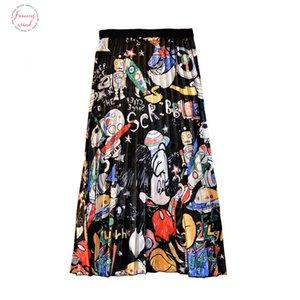 Womens Pleated Skirt Illustration Mouse Skirts Cartoon Japan Harajuku Summer Print High Waist A Line Midi Skirts Female Sp9528