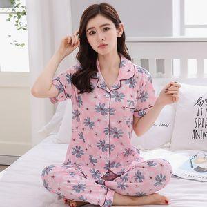 2019 Summer Short Sleeve Long Pants Pajama Sets for Women Print Sleepwear Pyjamas Femme Loungewear Homewear Pijama Mujer Clothes CX200704