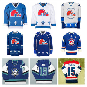 Quebec Nordiques encargo de la vendimia 19 Joe Sakic jerseys del hockey de 26 Peter Stastny 13 Mats Sundin 15 René Leclerc cosido cualquier nombre de su número
