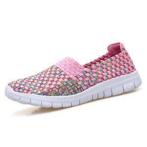 2018 Kadınlar Dokuma Ayakkabı Vintage Bahar Flats Nefes Sığ Ağız Lazy loafer'lar Dayanıklı Rahatlık Düz El yapımı ayakkabı Kayma