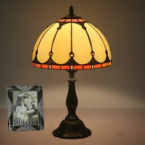 12 pulgadas Art Deco simple del vitral de Tiffany Lámparas de leer lámpara de mesa Moda Salón Dormitorio regalo creativo Lámpara de estudio