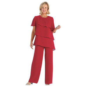 Cheap Tiered Mother Of The Bride Pant Suits Jewel Neck Two Pieces Wedding Guest Dress Plus Size Short Sleeves Mothers Groom Dresses