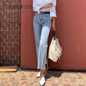 Genayooa Herbst Frühling Hohe Taille Jeans Frauen Streetwear Breites Bein Jeans Dünne Licht Waschen Boyfriend Jeans Für Frauen Y200417