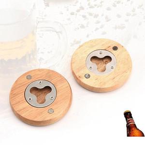 New Wooden Round Shape Bottle Opener Coaster Fridge Magnet Decoration Beer Bottle Opener Factory wholesale