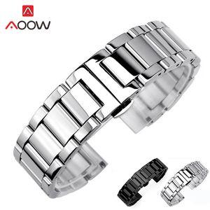 Bracelet de montre en acier inoxydable à 3 aiguilles 18mm 20mm 22mm 24mm poli boucle de déploiement mat Bracelet de rechange Bracelet de montre Bracelet T190620