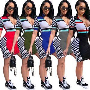 Womens Race Suit Style Plaid Stampa manica corta estate abiti anteriore della chiusura lampo Bandage Mini Abiti Femminile Club Wear Costumi
