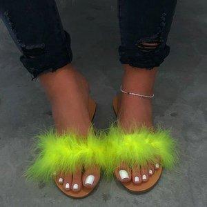 Laamei Women Fashion Plush Fluffy Fur Slides Ladies Furry Rainbow Fur Slippers Summer Beautiful Beach Flip Flops Hot