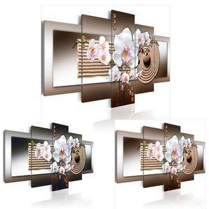 5PCS / Set Abstract Orchid Zen Garden-Flower Art Print Frameless Tela Pittura Immagine Della Parete Della Decorazione Della Casa No Frame