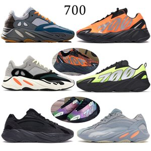 700 reflectante de color naranja Tie-dye Wave Runner 700 Kanye carbono trullo Imán azul Zapatos Gris Negro Sólido Desiger estático mujeres de los hombres zapatillas de deporte corrientes