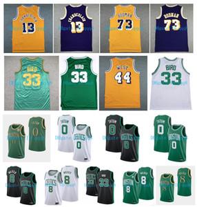 Qualité supérieure ! Jayson 0 Tatum Jersey 33 oiseaux Kemba Walker 8 Wilt Chamberlain 13 Dennis Rodman 73 Jerry 44 West College Basketball Maillots