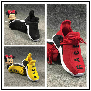 Adidas NMD Pharrell Williams Human Race Runing Shoes мальчики девочки Solar Pack Черный Желтый PW HU HOLI Фаррелл Уильямс Детские Кроссовки подарок на день рождения ребенка 26-35