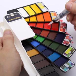 18/25/33 / 42Colors Solid Water Color Paint Set С Water Brush Pen Портативный Акварель Пигмент для рисования Art Supplies