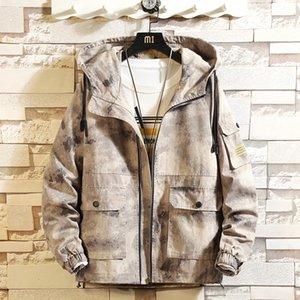 BQODQO 2019 Куртка для мужчин Свободные куртки на молнии Спортивная весна Стильное пальто Свободная уличная одежда Камуфляжная одежда Модные