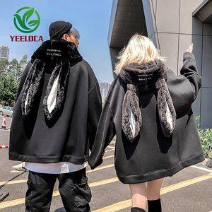 2019 Autumn Winter Plush Hip Hop Hoodie Couple Rabbit Ear Personality Fashion Black Sweatshirt Long Sleeve Men Women Top Y200704