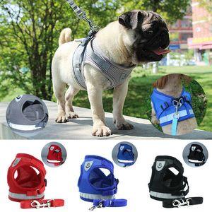 1PC ajustável macio respirável cão sair Harness Nylon malha Vest Collar Collar Harness cãe Cat Pet Chest Strap Leash