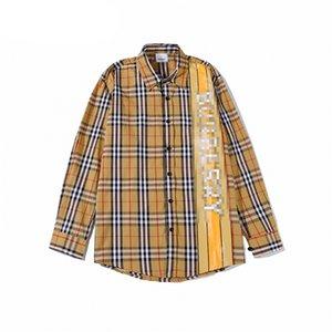Erkek tasarımcı ekose gömlek marka Bayan Bluzlar Uzun kollu Overshirts kızlar lüks Tees moda mektup baskı gömlek En Kaliteli 2041301 V